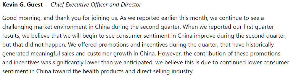Investing Mistakes USANA Q2 CEO Statement