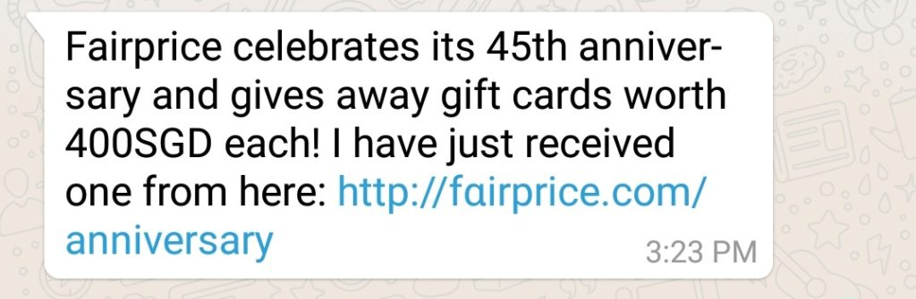 NTUC Fairprice Scam Whatsapp Message