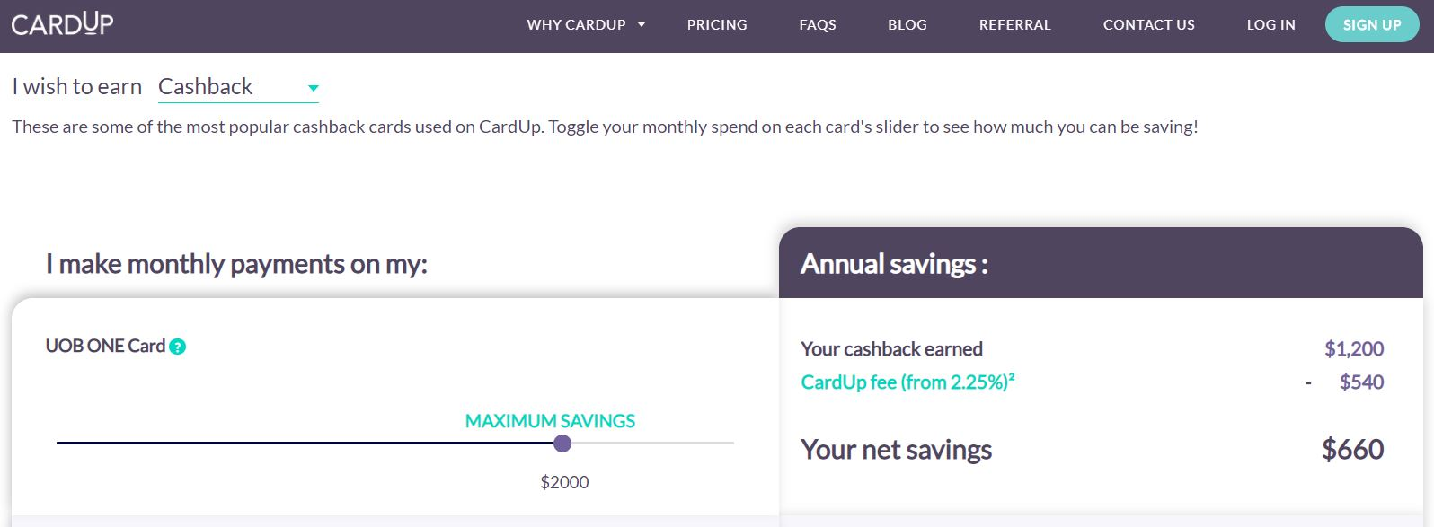 Maximise your Credit Card Miles and Cashback Using Cardup Cashback Example 2
