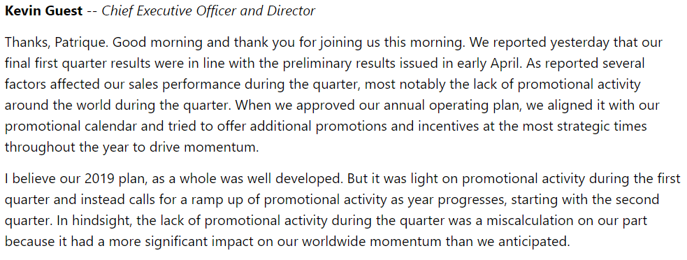 Investing Mistakes USANA Q1 CEO Statement