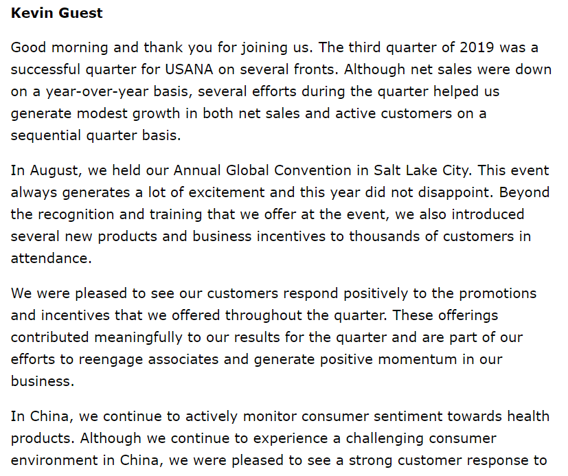 Investing Mistakes USANA Q3 CEO Statement