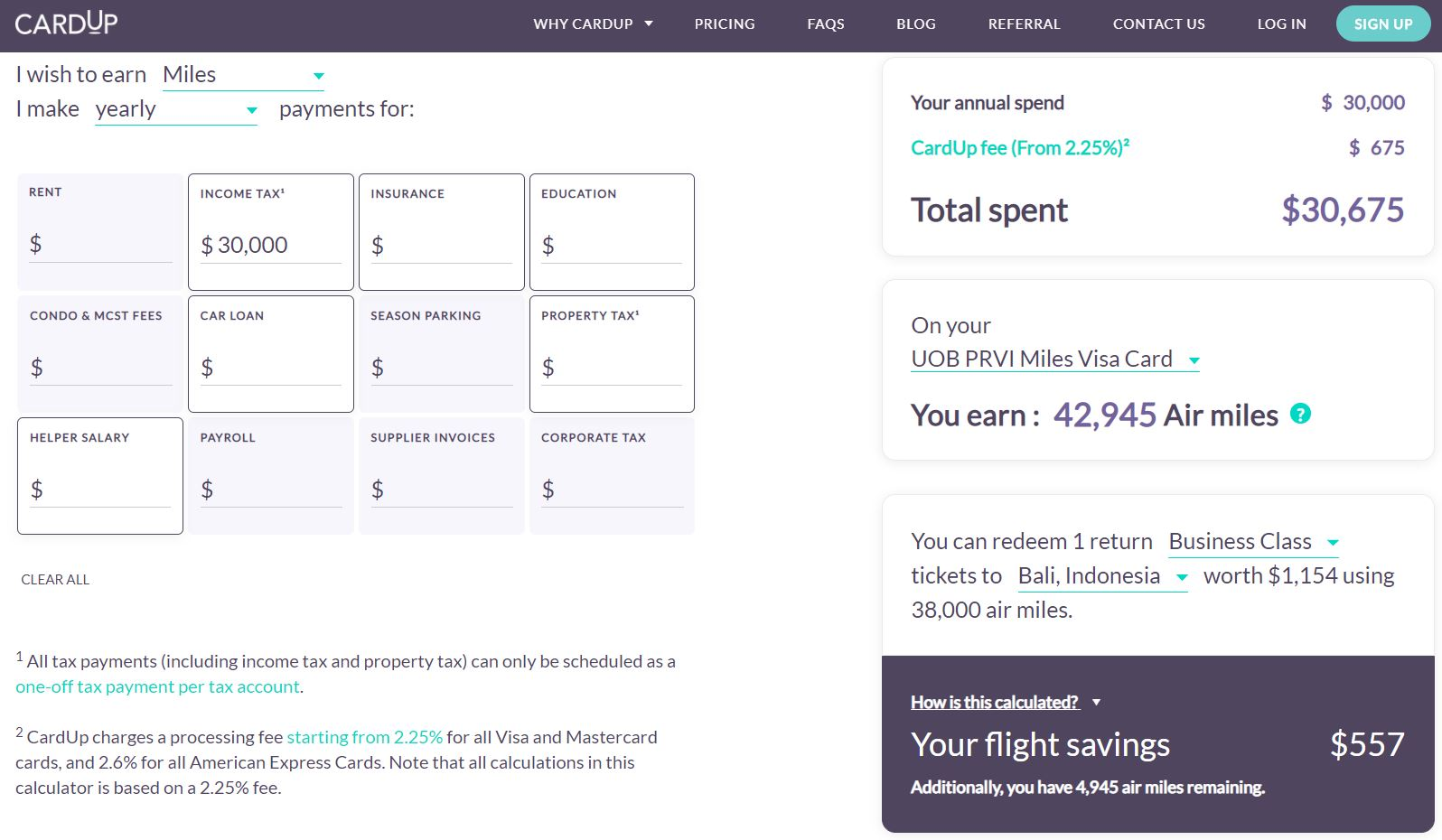 Maximise your Credit Card Miles and Cashback Using Cardup Airmiles Example 2
